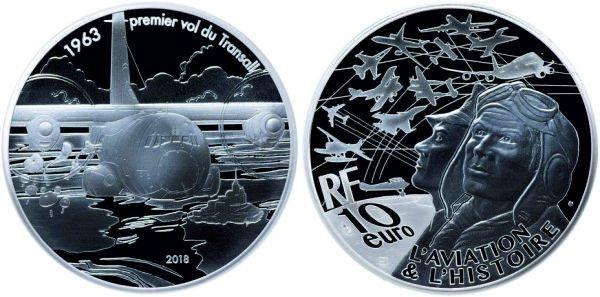 10 евро, 2018 год, Франция. Военно-транспортный самолёт Transall