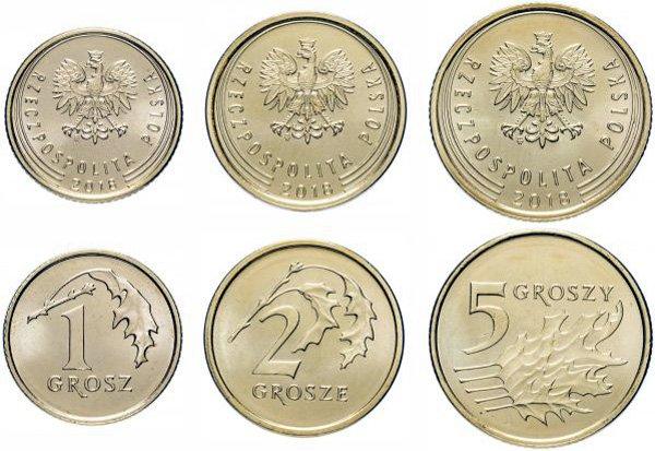 1, 2 и 5 грошей, Польша, 2018 год