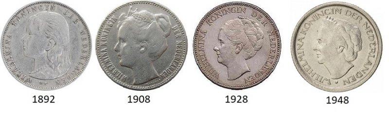 Эволюция портрета королевы Вильгельмины на монетах