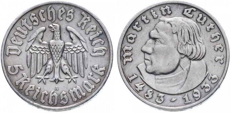 450 лет со дня рождения Мартина Лютера (5 рейхсмарок)