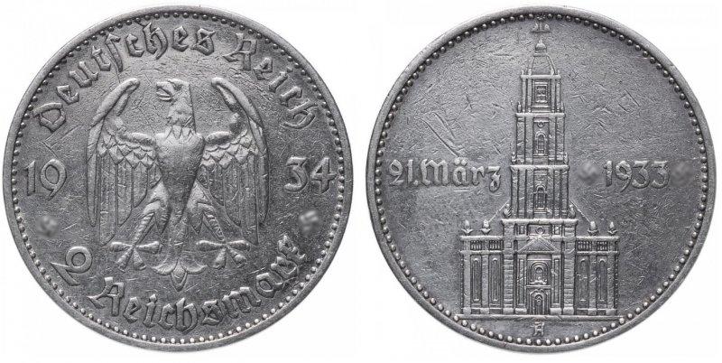 1 год нацистскому режиму. Гарнизонная церковь в Потсдаме (2 рейхсмарки) 1934 год