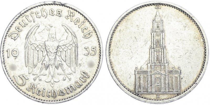 1 год нацистскому режиму. Гарнизонная церковь в Потсдаме (5 рейхсмарок без даты) 1935 год