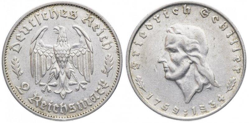 175 лет со дня рождения Фридриха Шиллера (2 рейхсмарки)