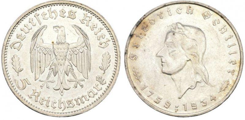 175 лет со дня рождения Фридриха Шиллера (5 рейхсмарок)