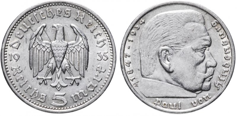 Гинденбург (5 рейхсмарок) 1935 год