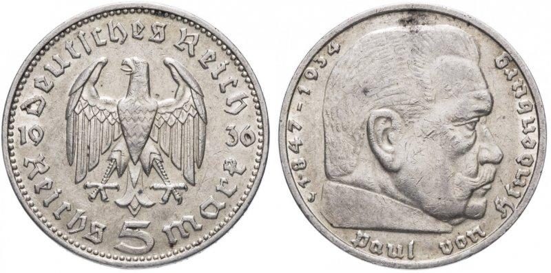 Гинденбург (5 рейхсмарок) 1936 год