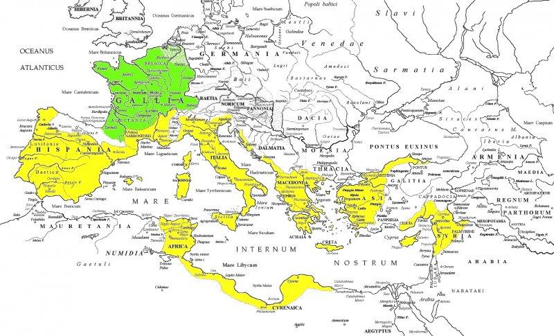 Карта Римской республики (середина I века до н.э.). Зеленым цветом выделена присоединенная Цезарем Галлия.