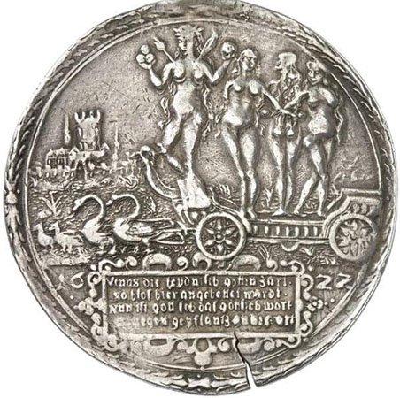 Венерин талер. Вольный город Магдебург. 1622 год. Надпись на реверсе: «Венера, нежная языческая богиня, здесь почитаема была в своей наготе. Нынче, хвала Господу, здесь посеяно слово божье»