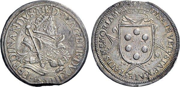 Таллеро. Тоскана. Герцог Фернандо Медичи. 1601 год. Серебро. 28,3 г