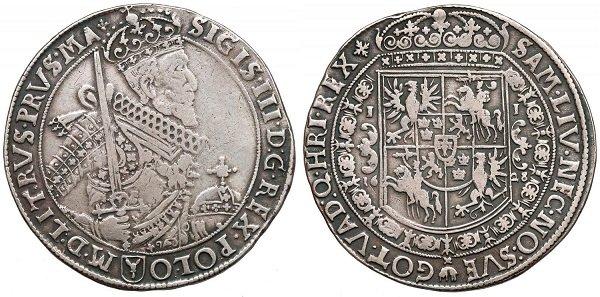 Талар. Речь Посполитая. Сигизмунд III. 1628 год. Серебро. 28 г
