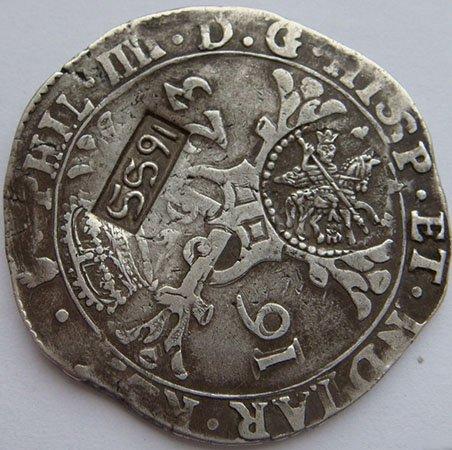 «Ефимок с признаком». Надчекан на талере (патагоне) Нидерландов 1623 года. 1655 год