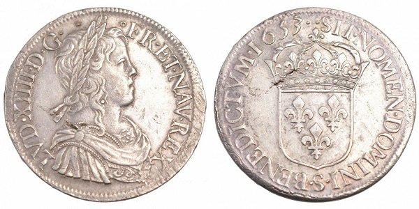 Экю. Франция. Людовик XIV. 1653 год. Серебро. 27,2 г