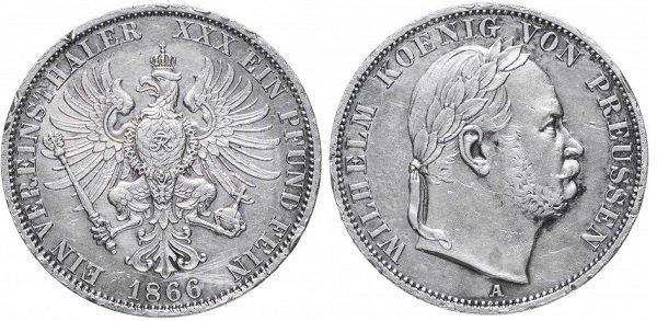 Союзный талер. Пруссия. 1866 год. 18,55 г