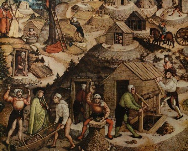 Работа рудокопов в Рудных горах. Сцена на алтаре церкви. 1522 год