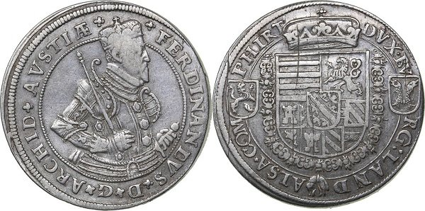 Талер. Эрцгерцог Передней Австрии и Тироля Фердинанд II (1564-1595 гг). Серебро. 28,5 г