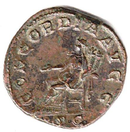 Конкордия (согласие, гармония) на сестерции императора Бальбина. 238 год