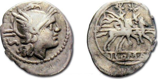 Ранний серебряный сестерций. Римская Республика. После 211 года до н.э. На аверсе, слева от головы богини Ромы – обозначение номинала «IIS»
