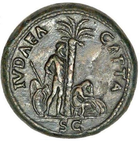 Поверженная Иудея на реверсе монеты императора Веспасиана