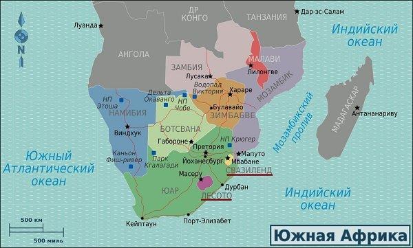 Королевства Лесото и Эсватини (Свазиленд) на карте Южной Африки