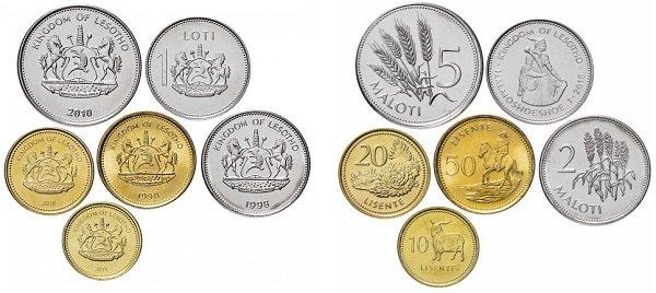 Набор монет королевства Лесото для регулярного обращения. Эмиссия 1998-2018 гг.