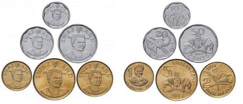 Набор монет Эсватини для регулярного обращения. Эмиссия 2015 года. На монетах указано еще старое название страны – Свазиленд (изменено на Эсватини в 2018 году)