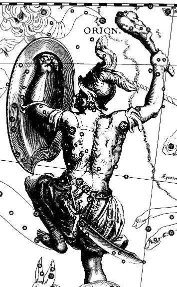 Изображение созвездия Ориона в звездном атласе Иоганна Гевелия
