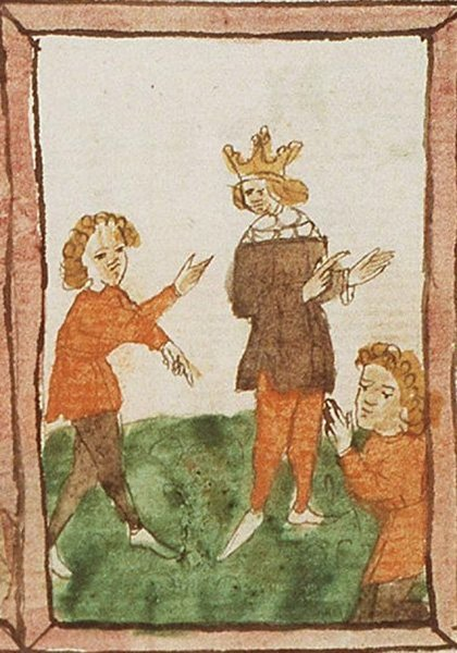 Изображение притчи о талантах в иллюстрированной рукописи Speculum humanae salvationis