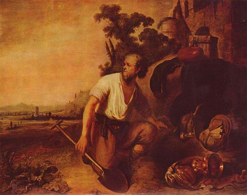 «Притча о зарывшем сокровище» работы Рембрандта