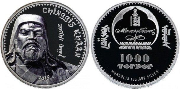 1000 тугриков 2016 года выпуска «Чингисхан»