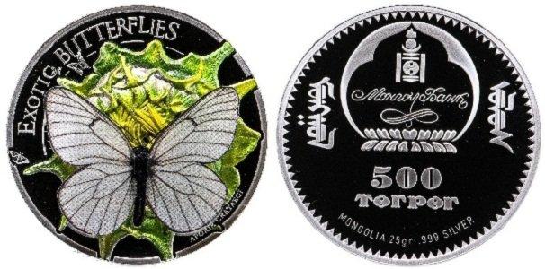 500 тугриков, посвященные бабочке-капустнице