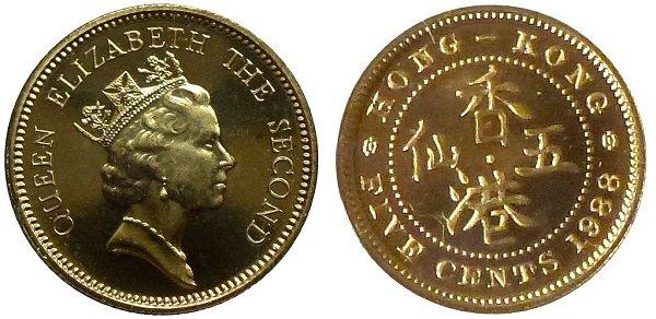 5 центов. 1988 год. Гонконг. Никелево-латунный сплав