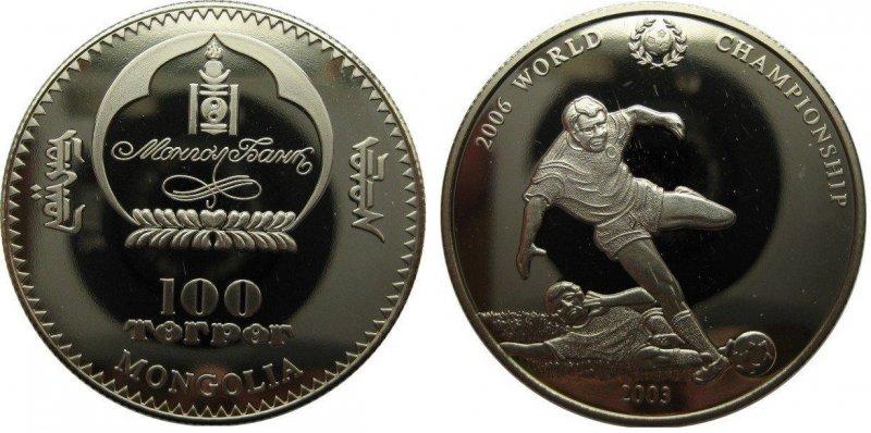 """100 тугриков 2003 года """"Чемпионат мира по футболу 2006"""""""