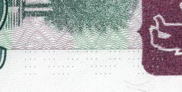 Микроперфорация на банкноте 1000 рублей модификации 2004 года