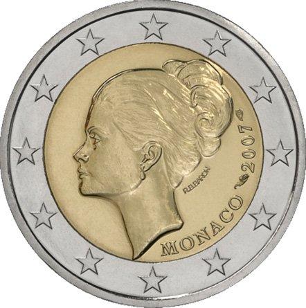 25 лет со дня смерти Грейс Келли. Монако. 2007. В центр монеты помещен портрет принцессы Монако в профиль. Справа надпись: MONACO