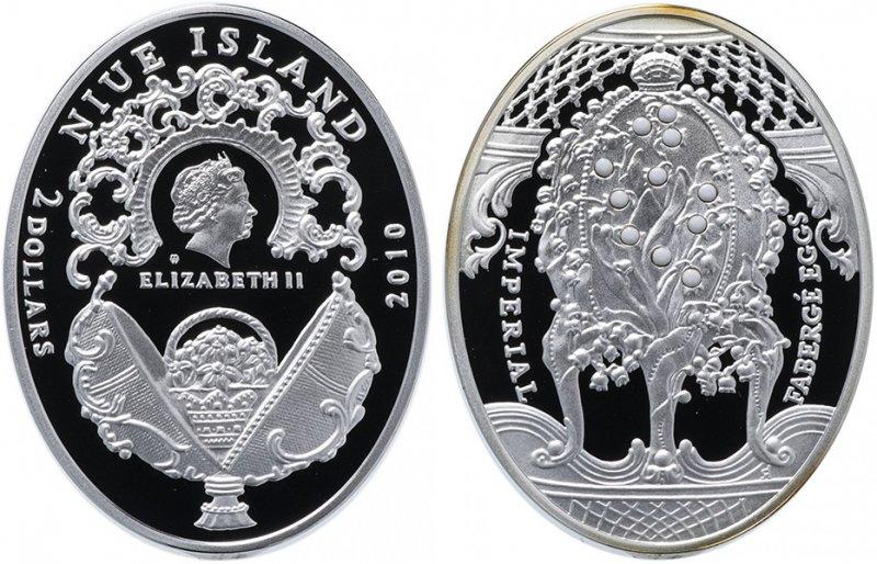 Остров Ниуэ, 2 доллара 2010 года «Яйца Фаберже. Ландыши»
