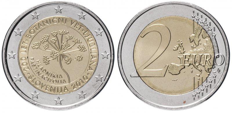 Словения, 2 евро 2010 года «200 лет Ботаническому саду Любляны»