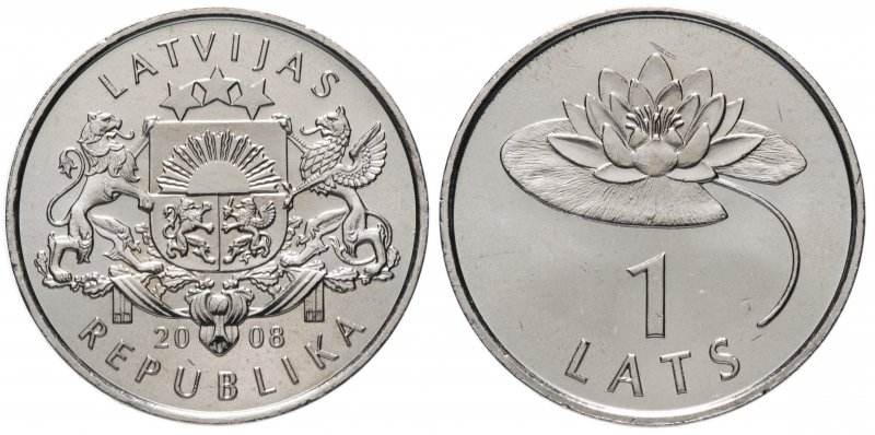 Латвия, 1 лат 2008 года «Лилия»