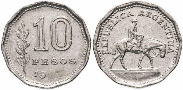 10 аргентинских песо 1962-1968 гг. На аверсе пастух, культурный символ Аргентины