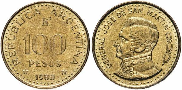 100 аргентинских песо. 1980 г. На аверсе генерал Хосе де Сан Мартин, один из ярких участников войны за независимость