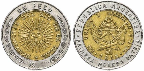 1 аргентинское песо 1994-2018. На реверсе майское солнце – один из символов Аргентины. Оно представляет собой инкского бога Инти