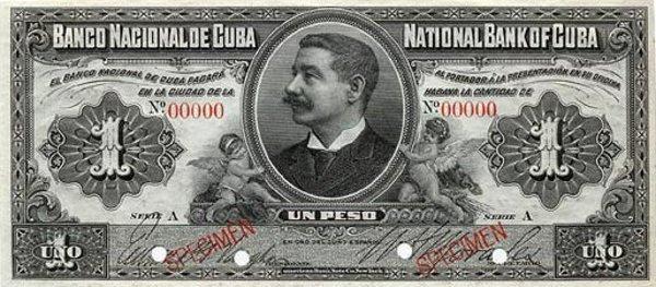 1 кубинское песо 1905 г. На лицевой стороне изображен Доминго Мендес Капоте, правитель Кубы