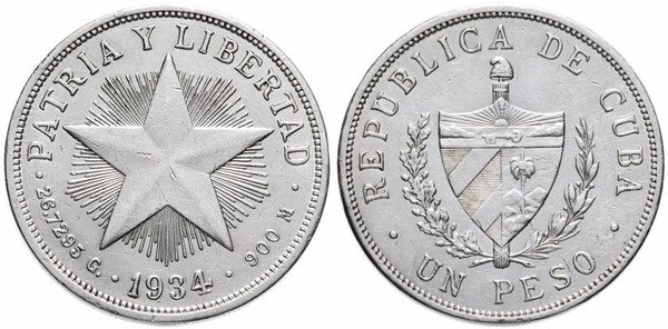 1 кубинское песо 1934 г.
