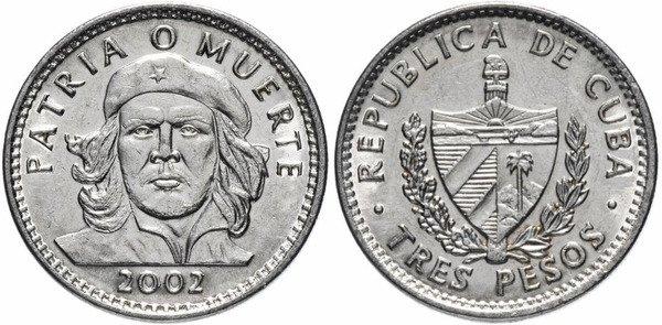 3 кубинских песо. 2002 г. На реверсе национальный герой Эрнесто Че Гевара