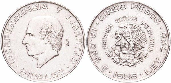5 песо 1956 г. На реверсе профиль Мигель Идальго, мексиканского католического священника и революционного вождя войны за независимость