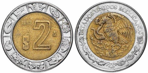 2 песо. 1996-2019 гг.
