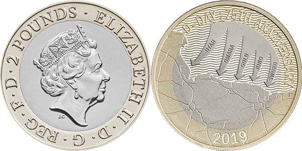 2 фунта Великобритании 2019 г.
