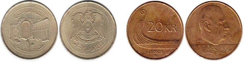 10 сирийских фунтов 2003 года и 20 норвежских крон 2001 года