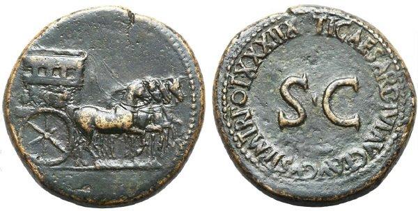 Сестерций Тиберия. 36-37 гг. (на аверсе – триумфальная квадрига)