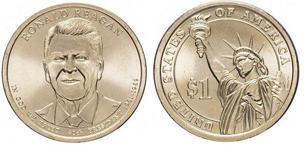 Портрет 40-го президента США Рональда Рейгана на долларовой монете из «Президентской серии». Латунь