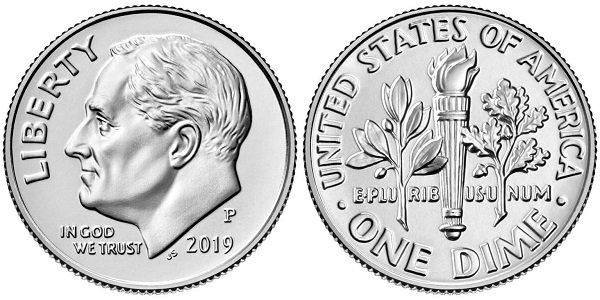 1 дайм (Dime, 10 центов). 2019 год. Портрет 32-го президента США Ф. Рузвельта. Медь с никелевым покрытием